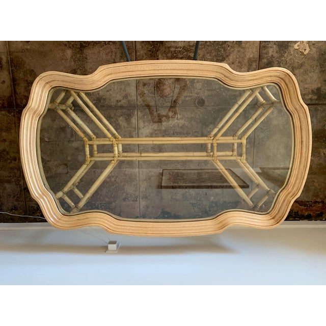 Vintage Boho Chic Bamboo and Wood Coffee Table For Sale In Los Angeles - Image 6 of 7