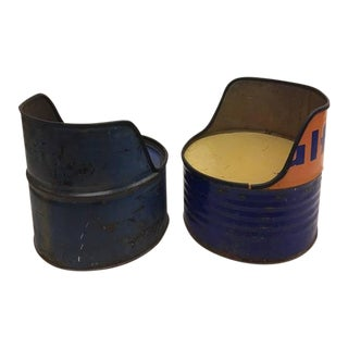 Pair of Mid-Century Modern 'Arte Povera' Oil Barrel Lounge Chairs, 1960