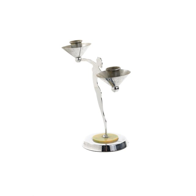 Metal Art Deco Dancers Nude Chrome Candle Holders For Sale - Image 7 of 10