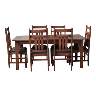 "Crafters and Weavers Mission 70"" Solid Oak Dining Table Set With 6 #401 Chairs - 7 Pieces For Sale"