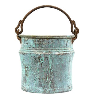 19th Century Verdigris Copper Garden Bucket For Sale