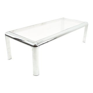Mid Century Chrome and Glass Coffee Table For Sale