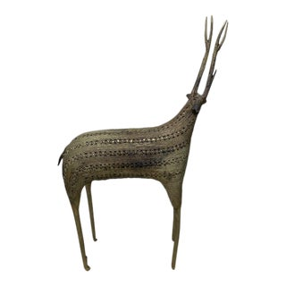 Early 20th Century African Filligris Silvered Metal Antelope For Sale