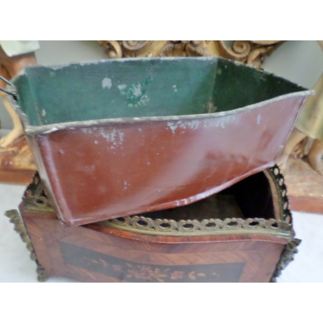 19th Century Antique French Bronze & Marquetry Inlaid Wood Flower Box For Sale - Image 10 of 12