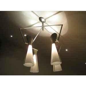 Metal Mid Century Extreme Modernism Victor Gruen for John Lautner Chandelier Hanging Lamp For Sale - Image 7 of 11