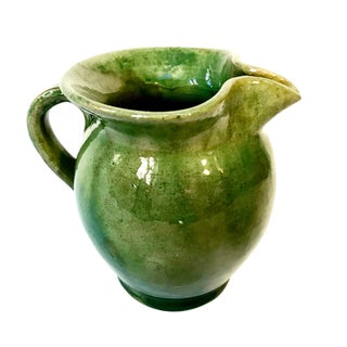 Vintage French Green Ceramic Small Pitcher For Sale