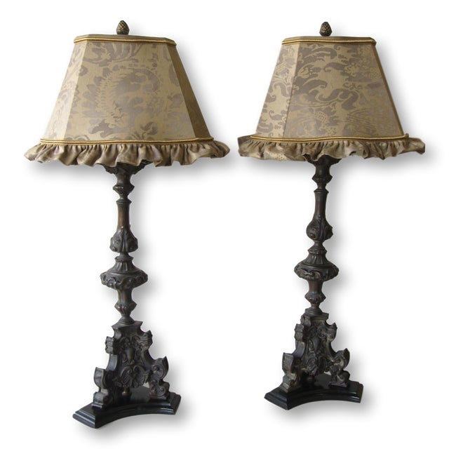 Antique Cast Metal Lamps With Fortuny Shades - A Pair - Image 2 of 11