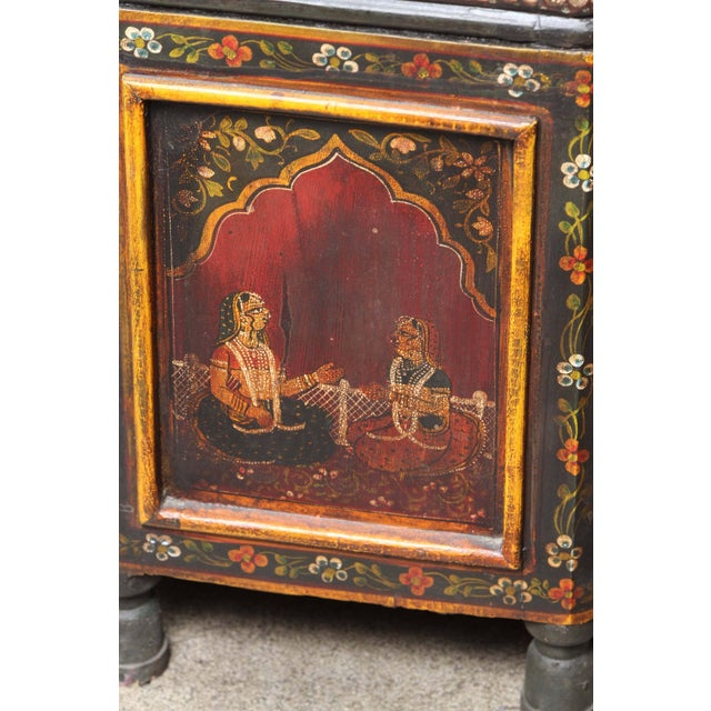 Red Anglo Indian Hand-Painted Teak Coffee Table For Sale - Image 8 of 10