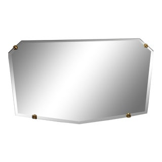 Unusual Small Geometric Shaped Beveled Frameless Mirror For Sale