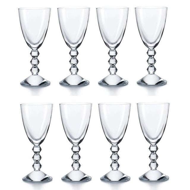 2010s Mint Signed Baccarat French Crystal Cocktail White Wine Stems - Vega - Set of 8 For Sale - Image 5 of 5
