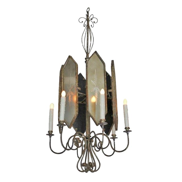 Unusual Hollywood Regency Style Italian Iron and Mirror Lantern Chandelier For Sale - Image 4 of 4