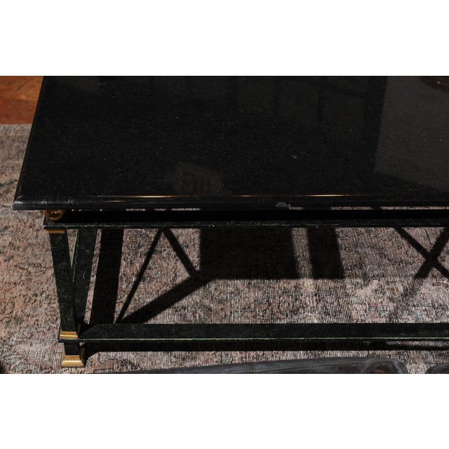 French Parisian Coffee Table with Black Marble Top, Iron Base and Brass Accents For Sale - Image 11 of 12