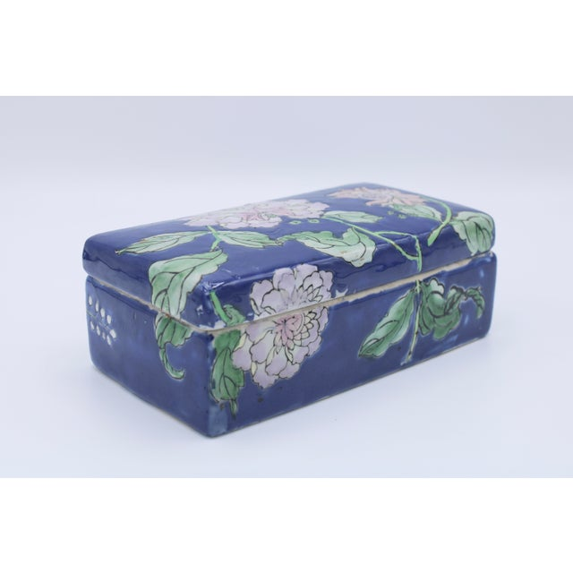 Antique Asian Ceramic Floral Peonies Jewelry Box For Sale - Image 12 of 13