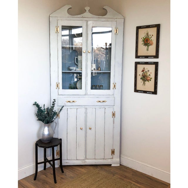 1920s Country White Farmhouse Corner China Cabinet | Chairish