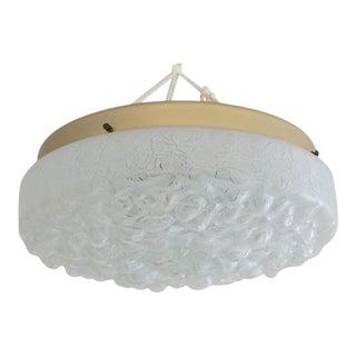 Mid-Century Modern Doria Leuchten Flushmount Chandelier in Glass and Brass For Sale
