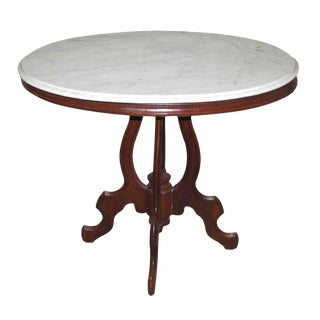 Queen Anne Marble Top Carved Walnut Base Table For Sale