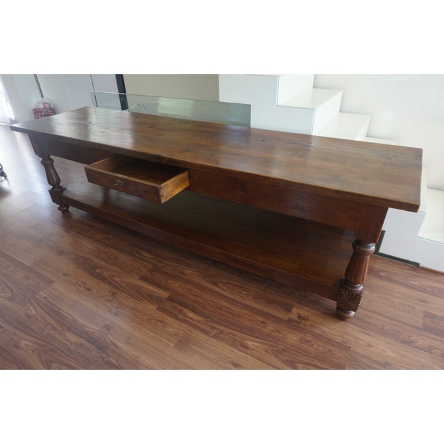 Brown Large 19th Century Spanish Refectory Walnut Farm Table or Console For Sale - Image 8 of 11