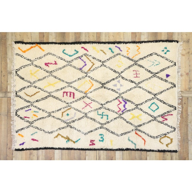 Beige Moroccan Contemporary Berber Azilal Rug - 06'01 X 09'01 For Sale - Image 8 of 10