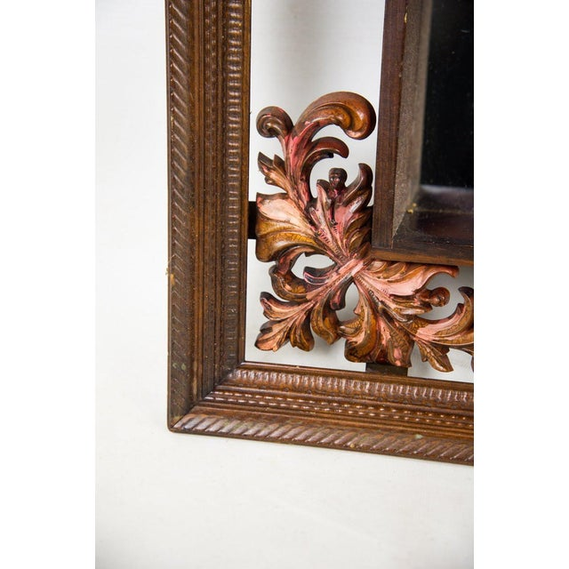 Glass 1960s Victorian Mahogany Decorative Wall Mirror With Shelves For Sale - Image 7 of 9