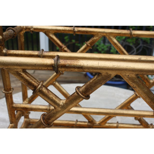 Gilt Faux Bamboo Chinoiserie Style Magazine Rack For Sale - Image 9 of 11
