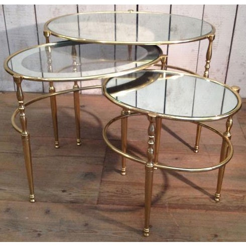 Brass Mid Century Brass Oval Nesting Tables For Sale - Image 7 of 7