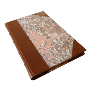 Handmade Marbled Paper Leather Notebook For Sale