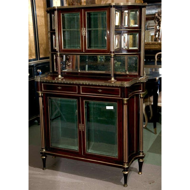 French Louis XIV Style Mahogany Server Cabinet Buffet Cupboard by Maisen Jansen - Image 2 of 8