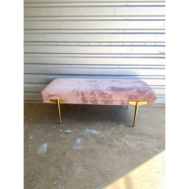 Contemporary Contemporary Lavender Velvet Bench For Sale - Image 3 of 9