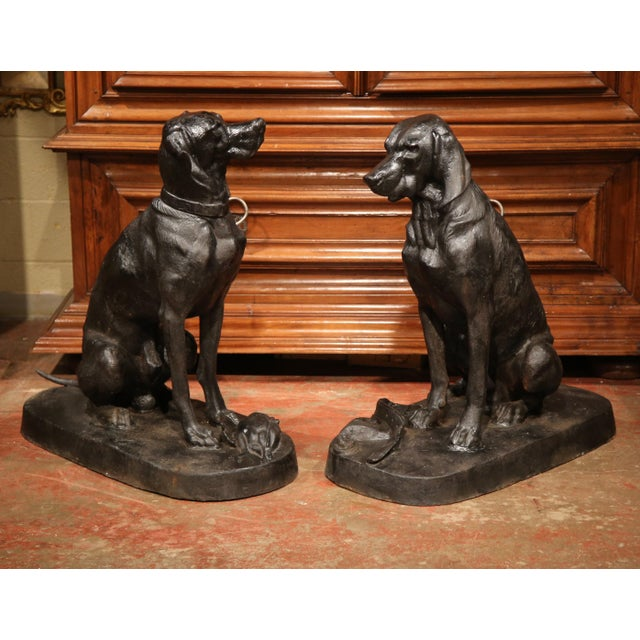 Early 21st Century Pair of Lifesize French Iron Hunting Labradors Retrievers after Jacquemart For Sale - Image 5 of 10
