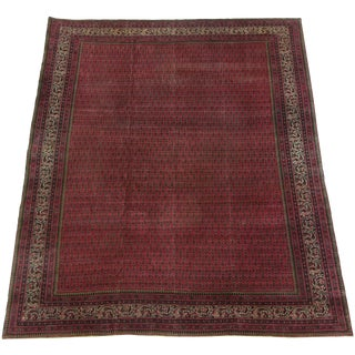 Early 19th Century Antique Indian Handmade Area Rug - 10′ × 13′ For Sale