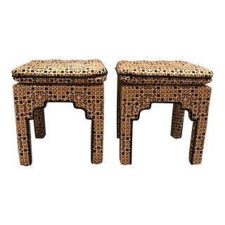 Vintage Patterned Ottomans - A Pair