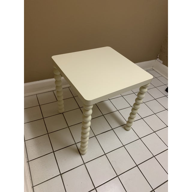 1970's Boho Chic Off-White Wood Side Table For Sale - Image 10 of 11