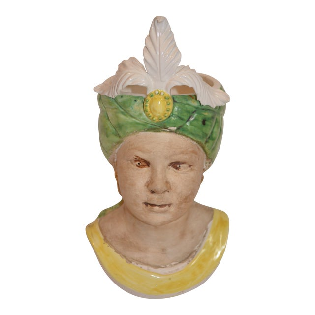 1960s Vintage Italian Majolica Goddess Bust Planter For Sale
