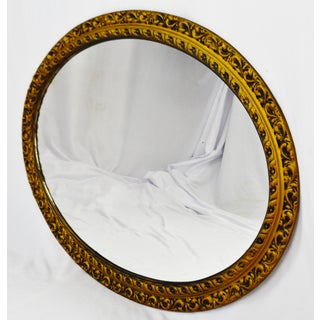Vintage Resin Wood Look Framed Oval Wall Mirror Preview
