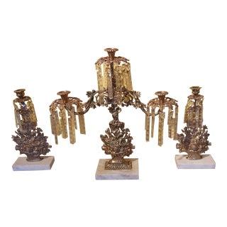 Antique Solid Brass & Marble Girandole Candelabras - Set of 3 For Sale
