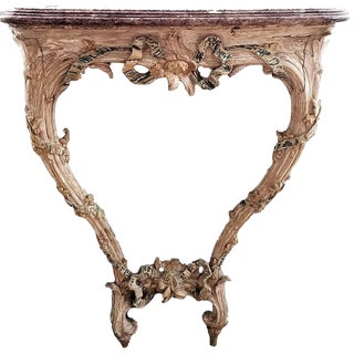 18th C Louis XVI Carved & Painted Wood Console With Marble Top For Sale