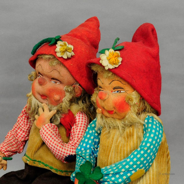a pair of whimsical gnomes, hand made in Germany ca. 1930. made of different materials, mainly felt, stuffed with straw....
