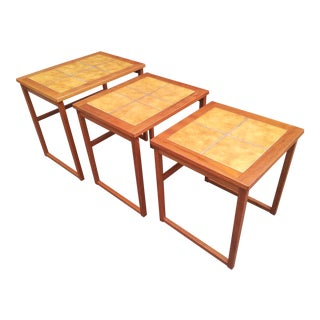 Vintage Danish Modern Brdr. Furbo Spottrup Tile Top Teak Nesting Tables - Set of 3 For Sale