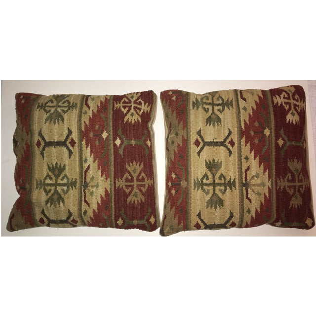 Adirondack Vintage Kilim Pillows - A Pair For Sale - Image 3 of 7