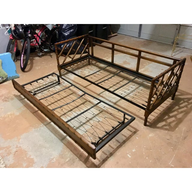 Boho Chic 1970s Boho Chic Rollout Faux Bamboo Twin Trundle Bedframe For Sale - Image 3 of 13
