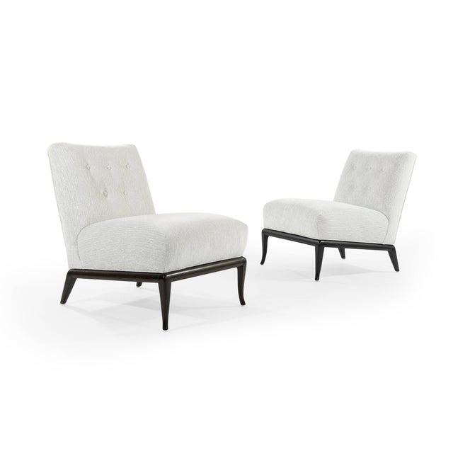 Grey Chenille Slipper Chairs by T.H. Robsjohn-Gibbings - a Pair For Sale In New York - Image 6 of 12