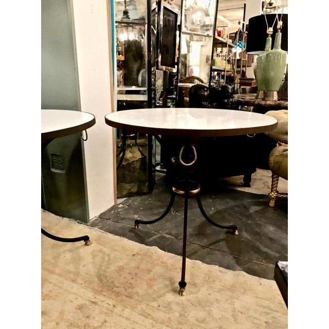 Boho Chic Pair Wrought Iron & Marble Neoclassical Side Tables C.1970-1980 For Sale - Image 3 of 8