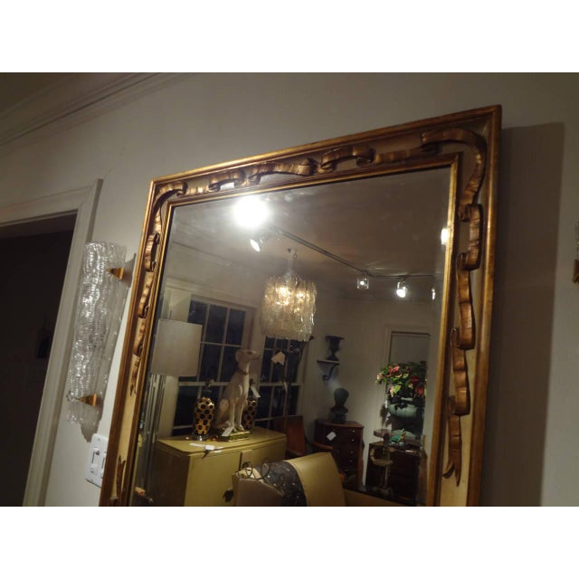 1920s Italian Rectangular Painted and Gilt Wood Beveled Mirror For Sale - Image 5 of 9