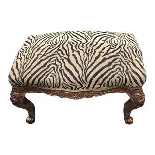 Vintage Zebra Print Rococo Bench For Sale