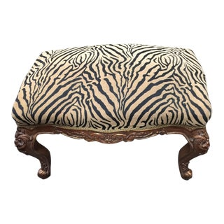 Vintage Zebra Print Rococo Bench