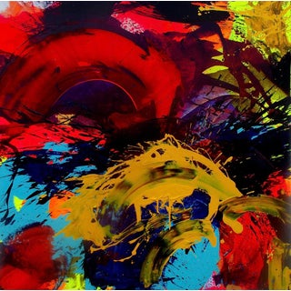 """Abstract """"Splash Down"""" Acrylic Painting For Sale"""