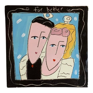 1980s Hand Painted Two Side Modern Ceramic Tile For Sale
