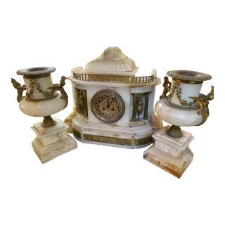 Antique French Figural Medallie d'Argent Vincenti Mantel Clock and Candelabras - 3 Piece Garniture Set For Sale