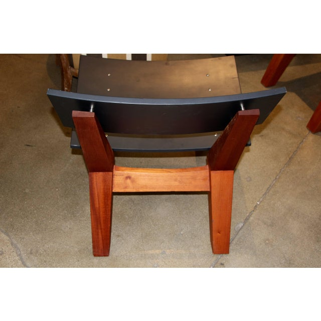 Danish Modern Rob Edley Welborn Prototype Lounge Chair in Wood and Blue Paint For Sale - Image 3 of 10
