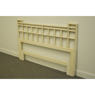 20th Century Asian Drexel Furniture Faux Bamboo White Painted Queen Size Headboard Preview